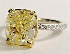 platinum 2 05ct cushion cut canary diamond engagement ring