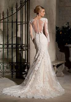 chantilly lace with wide hemline wedding dress style 2725 morilee