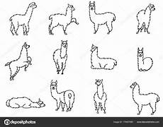 coloring pages to print 17540 vector set of characters illustration of south americas lama with decorations isolated
