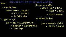umrechner kw ps how to convert ton of refrigeration ton to btu hp watts