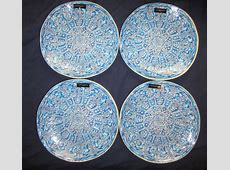Cynthia Rowley Blue MEDALLION DINNER PLATES  SET OF 4