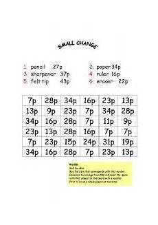 money worksheets change from 50p 2103 worksheets small change board