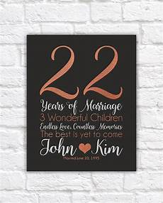 22nd Wedding Anniversary Gifts personalized anniversary gifts 22 years copper