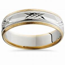 mens 14k white yellow gold two tone 6mm wedding band ring gold