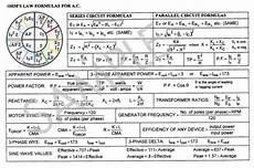 ac ohm s law formula card ohms law electronic