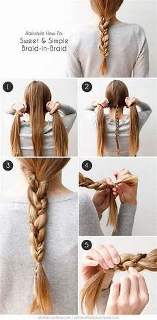 sweet and simple braid in braid hair tutorial pictures