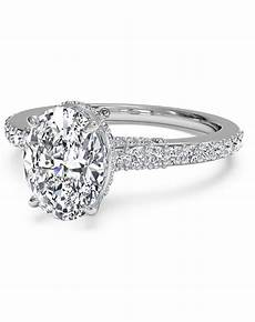 ritani french set diamond band engagement ring in 14kt white gold 0 45 ctw for a oval center