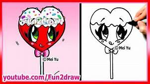 How To Draw A Heart Lollipop  Fun2draw YouTube