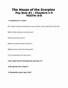 house of the scorpion lesson plans the house of the scorpion 6 quizzes covering all chapters