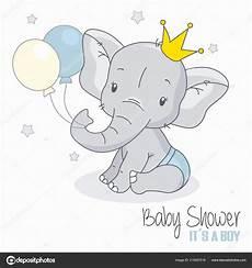 herunterladen baby dusche junge niedlichen elefanten mit