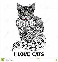 Malvorlage Sitzende Katze Sitzende Katze Zentangle Vektor Abbildung Illustration