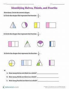 identifying halves thirds and fourths math fractions worksheets 2nd grade worksheets