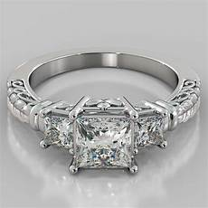 1 75ct princess cut 3 stone designer engagement ring in