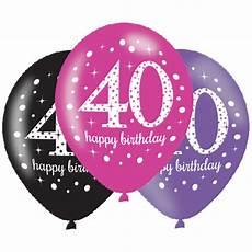 6 x 40th birthday balloons black pink lilac