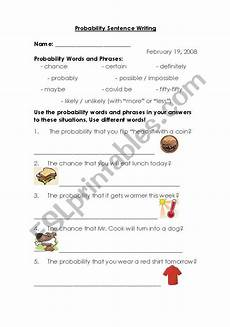 probability sentences worksheets 5887 worksheets probability sentence writing