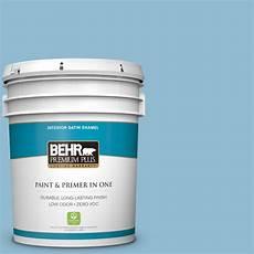 behr premium plus 5 gal m500 3 blue chalk satin enamel zero voc interior paint and primer in