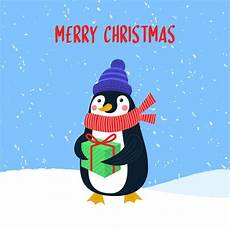 merry christmas vector card with cute penguin premium vector