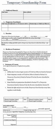 temporary guardianship form template sle