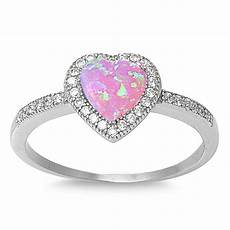 sterling silver 925 heart design pink lab opal engagement ring 10mm sizes 4 12 ebay