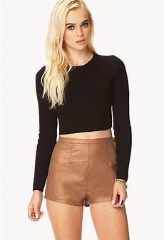 High Waist Faux Leather lyst forever 21 casual high waisted faux leather shorts