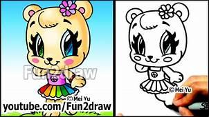 Cute Animals – How To Draw A Bear Girl Rainbow Skirt And