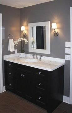 bathroom espresso cabinet grey wall white trim in 2019