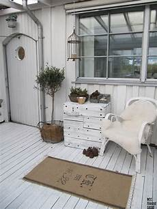 country chic cottage outside porch white grey black chippy shabby chic