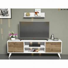 Meuble Tv Avec 233 Tag 232 Re Horus 120 X 48 Cm Blanc Et Noix