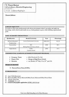electrical engineer fresher resume templates at