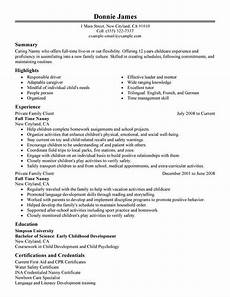 give a good impression with nanny resume exles resume exle job resume exles good
