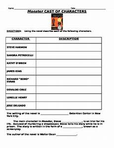 monster by walter dean myers character chart tpt