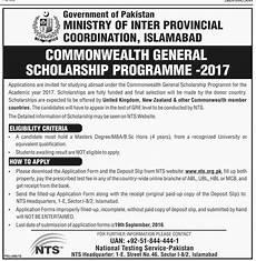 commonwealth general scholarship program 2018 eligibility criteria nts form roll no