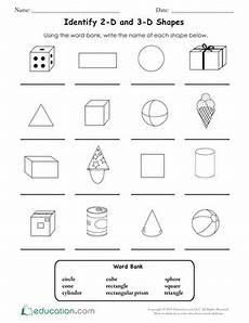 shapes worksheet grade 3 1125 identify 2 d and 3 d shapes geometry worksheets shapes worksheets 2nd grade worksheets