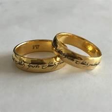 enamelled elvish engraved wedding bands