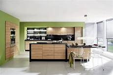 wall of green color for the kitchen interior design