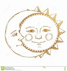 Malvorlagen Sonne Und Mond Gezeichnete Sonne Mit Mond Vektor Abbildung
