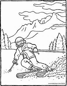 Ausmalbilder Urlaub Berge Skifahren In Den Bergen Kiddimalseite