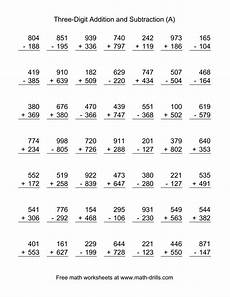 addition and subtraction integer worksheets 8910 adding and subtracting three digit numbers a