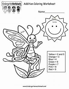 free printable addition coloring worksheet for kindergarten