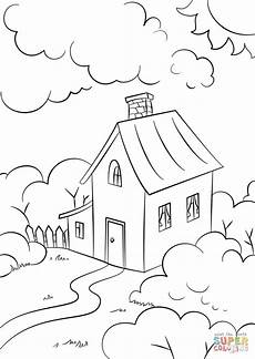 lovely house with garden coloring page free printable