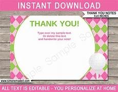printable golf birthday thank you note cards