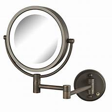 jerdon hl88nl 8 5 quot led lighted wall makeup mirror with 8x magnification nickel finish jerdon hl88nl two sided swivel led lighted wall