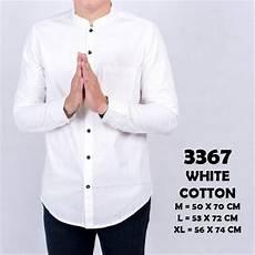 jual baju kemeja pria lengan panjang polos kerah koko shanghai putih 3367 di lapak agohelmi agohelmi