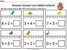 worksheets for 18166 dinosaur number line addition subtraction within 10 addition subtraction math classroom