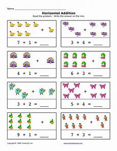 simple math addition worksheets with pictures 9646 horizontal addition free 94 addition sums 1 10 horizontal worksheets with images