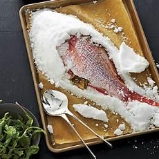 Salt Crusted Snapper With Eggplant Raisin Puree Recipe