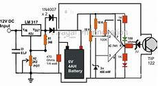 make a 6v 4ah automatic battery charger circuit without using a relay skema elektronika