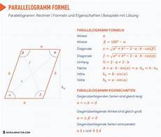 parallelogramm rechner parallelogramm formel fl 228 che