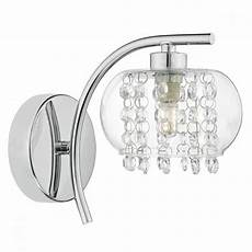 elma chrome wall light with glass shade and glass bead droplets