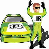 Royalty Free Nascar Race Car And Driver 370045 Vector Clip